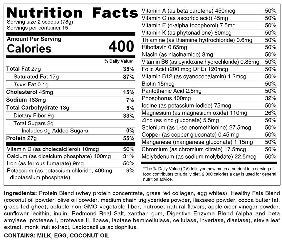 Vanilla Nutrition Facts